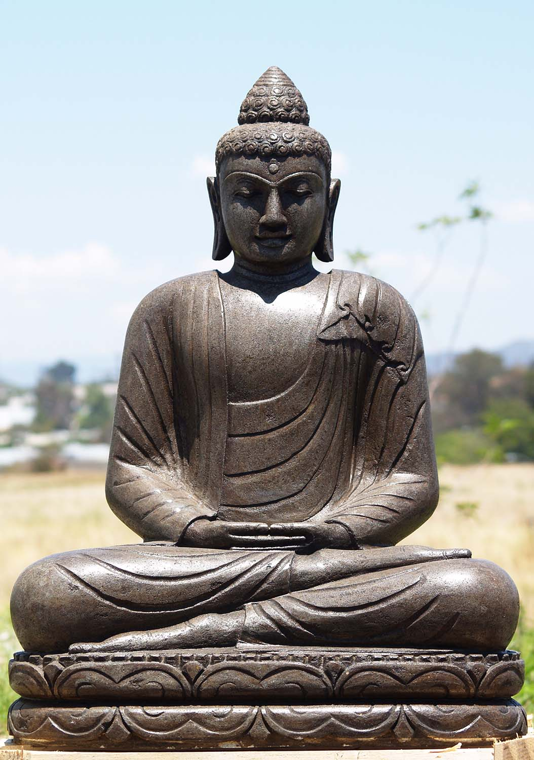 sold stone meditating buddha garden statue 31 86ls173. Black Bedroom Furniture Sets. Home Design Ideas