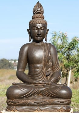 Stone Buddha Sculpture with Flame Finial 36