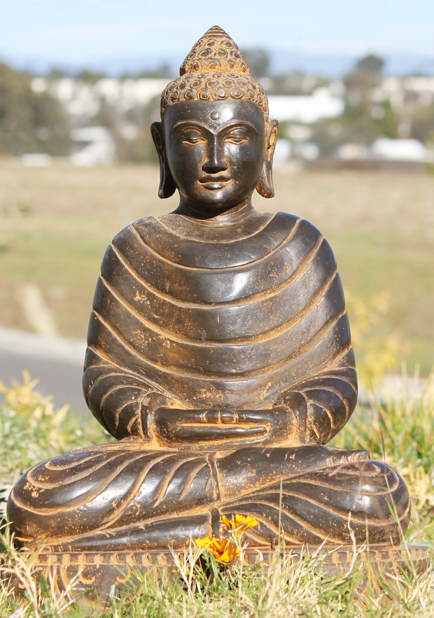 sold stone meditating garden buddha statue 22 105ls480 hindu gods buddha statues. Black Bedroom Furniture Sets. Home Design Ideas