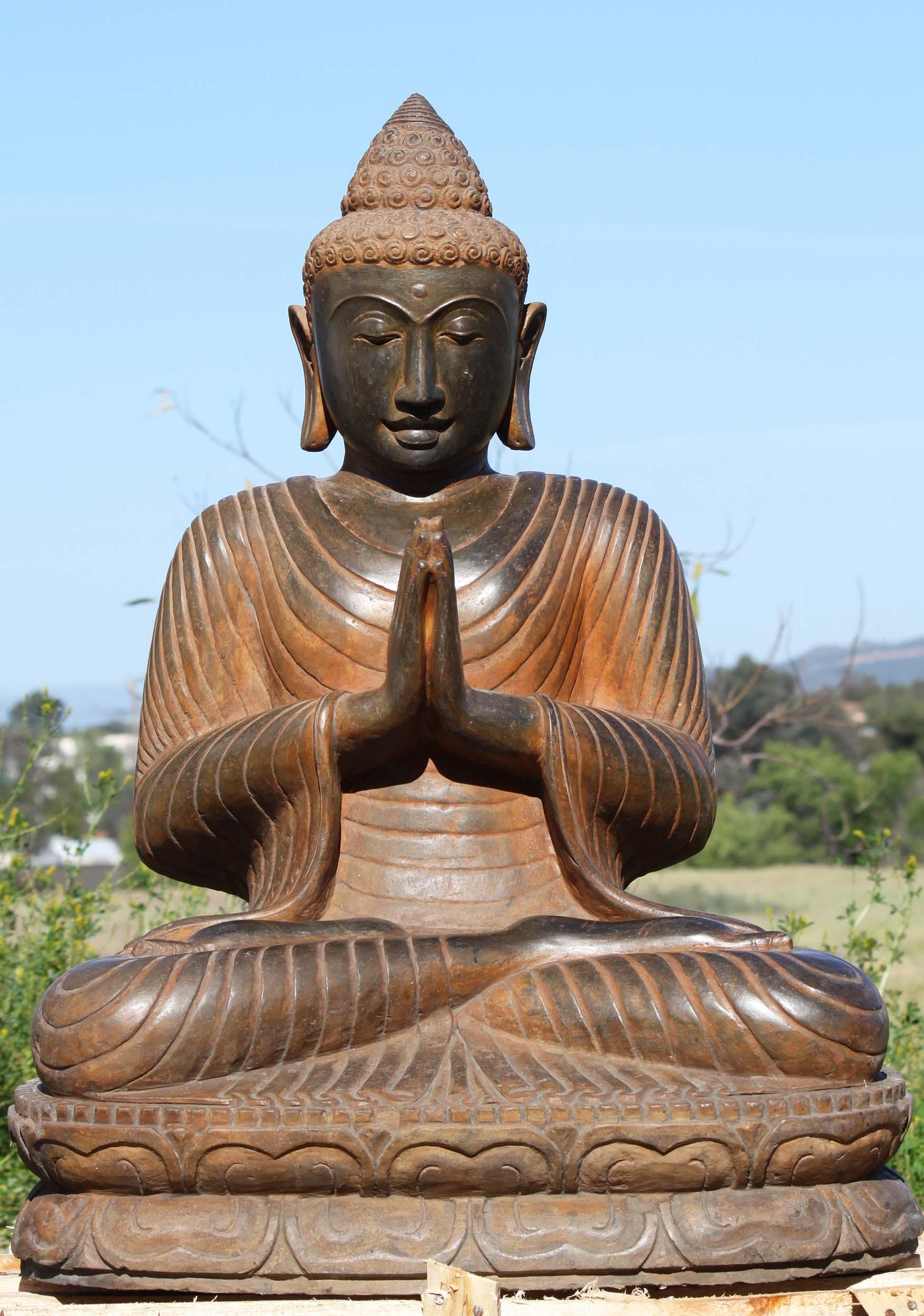 Sold Stone Namaste Buddha Garden Sculpture 38 105ls439 Hindu