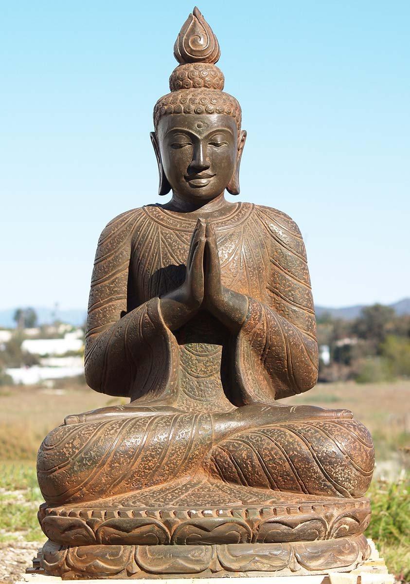 "SOLD Stone Namaste Buddha Garden Statue 40"" (#83ls47 ..."