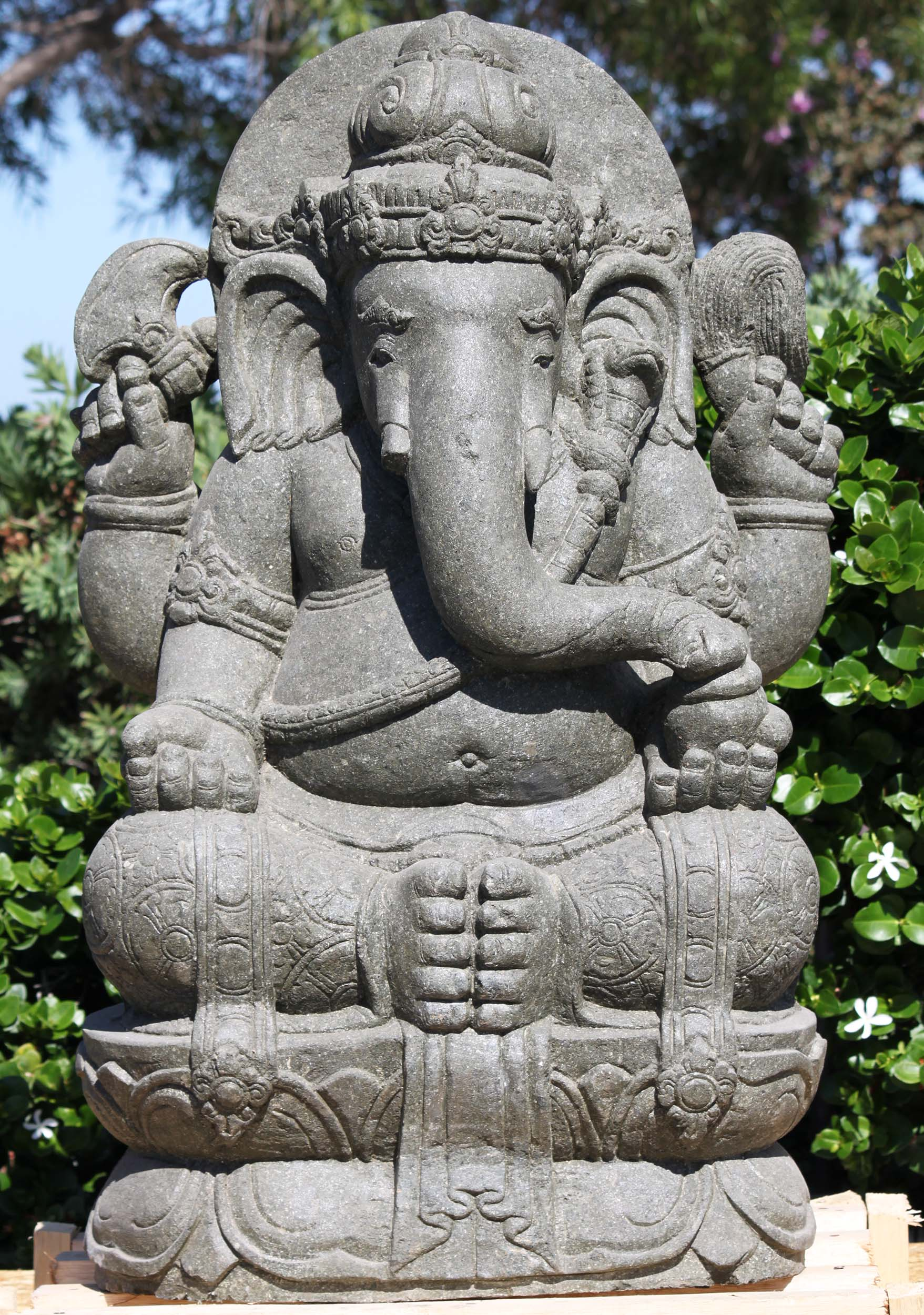 Stone Seated Ganesh Statue With Ax Amp Cobra 40 Quot 116ls610