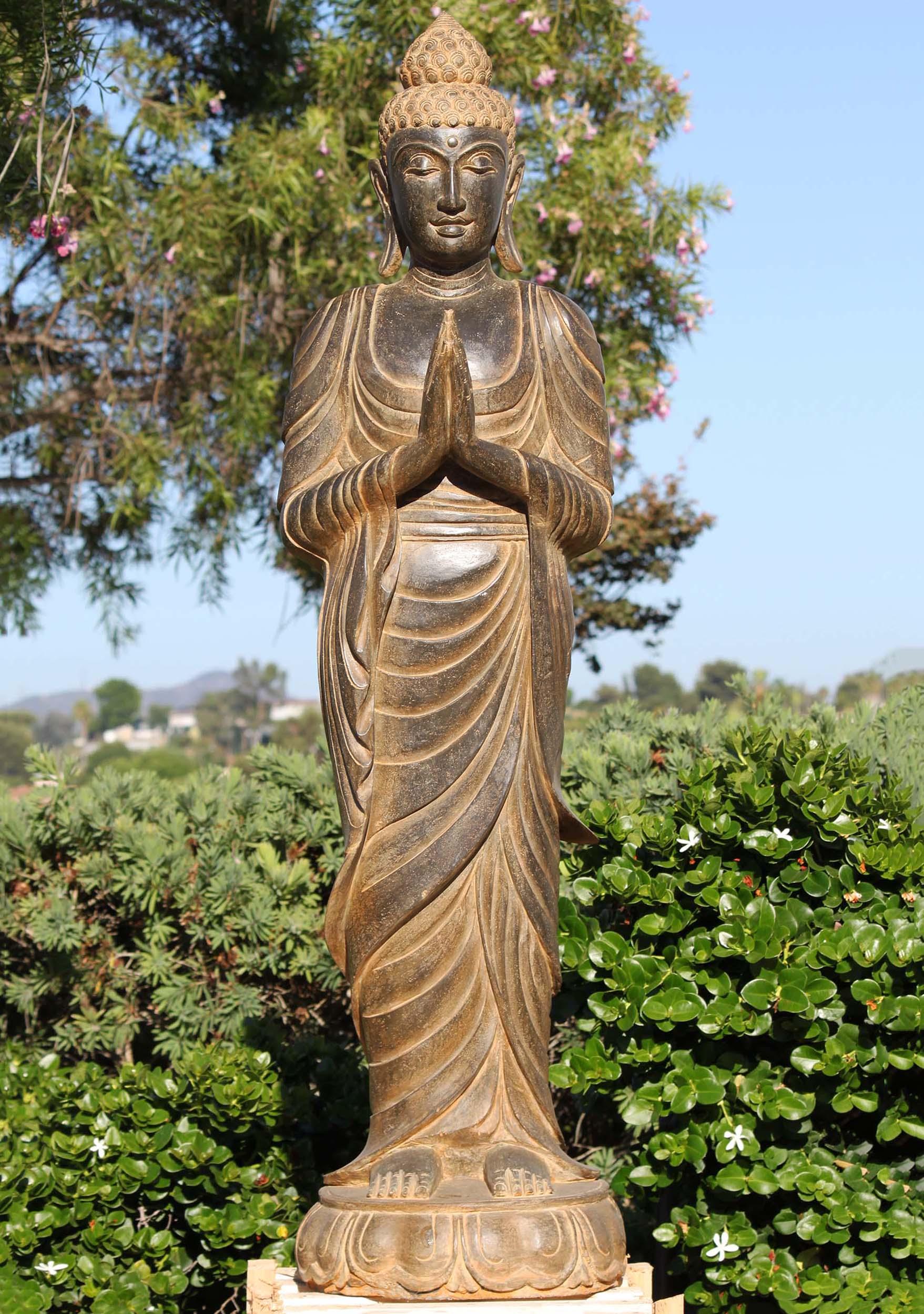 Sold Stone Standing Namaste Buddha Garden Statue 61 116ls659 Hindu Gods Buddha Statues