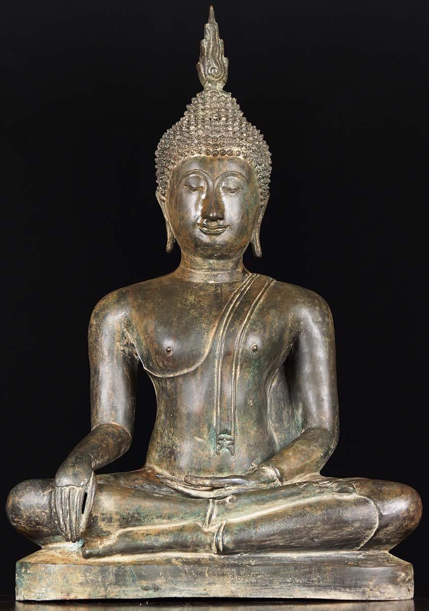 Sold Meditating Sukhothai Buddha Statue 30 Quot 58t28