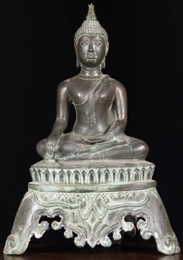 Brass Earth Touching Sukhothai Buddha 18