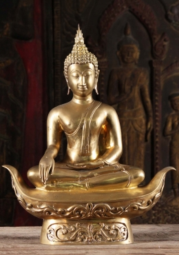 Brass Golden Sukhothai Earth Touching Buddha 21