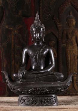 Black Brass Sukhothai Earth Touching Buddha 21