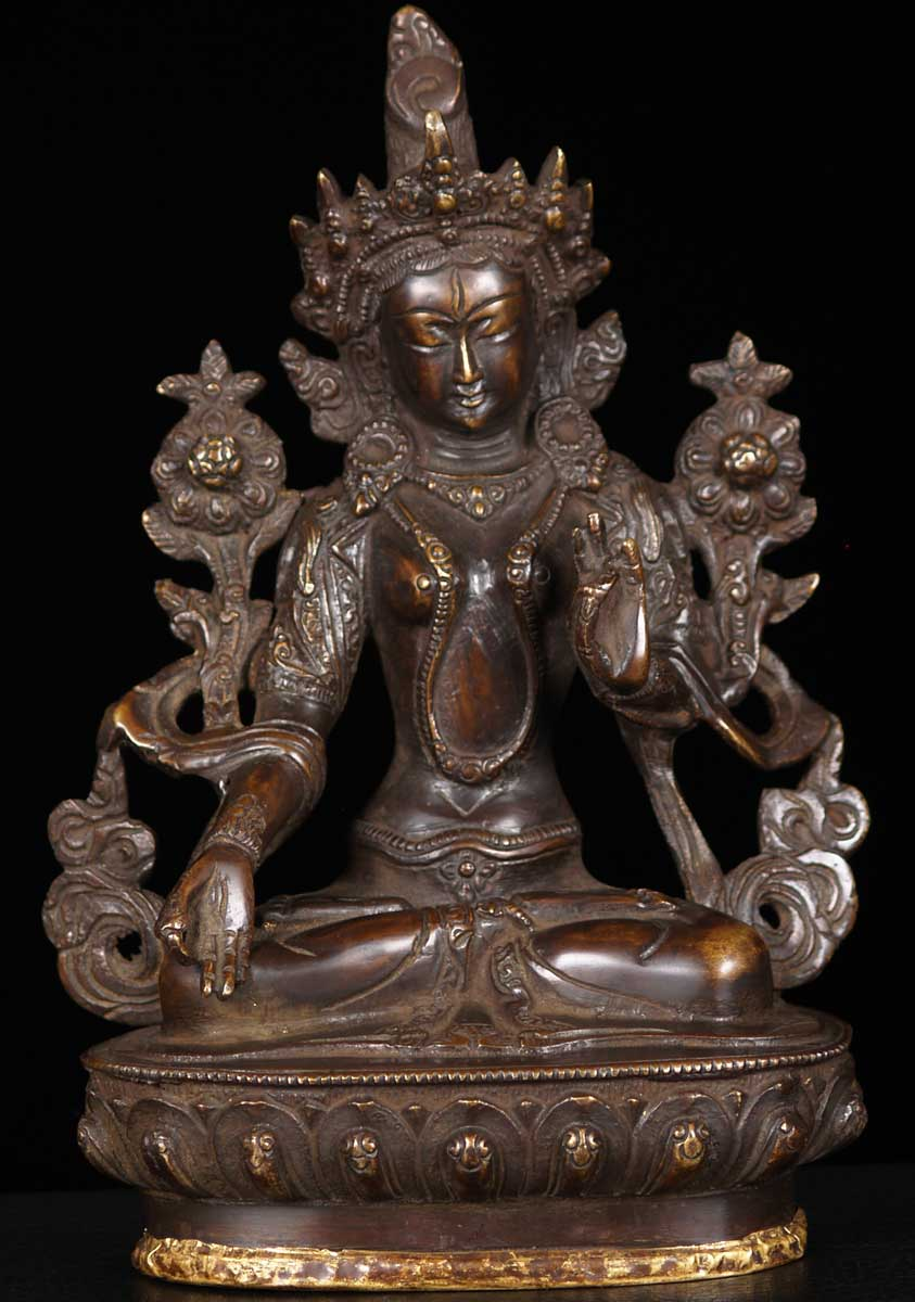 Sold Brass Seated Green Tara Statue 8 5 Quot 62bs68 Hindu