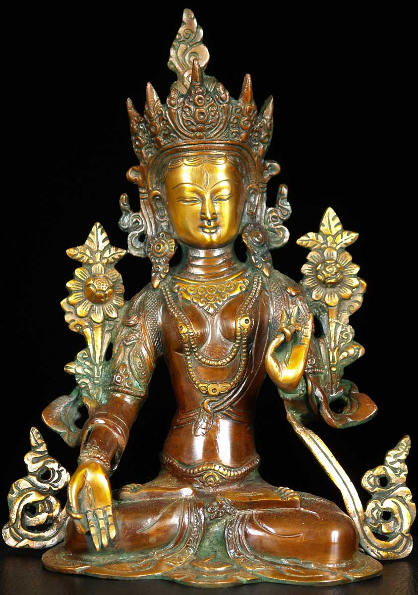Sold Brass Crown White Tara Statue 11 Quot 62bs63a Hindu