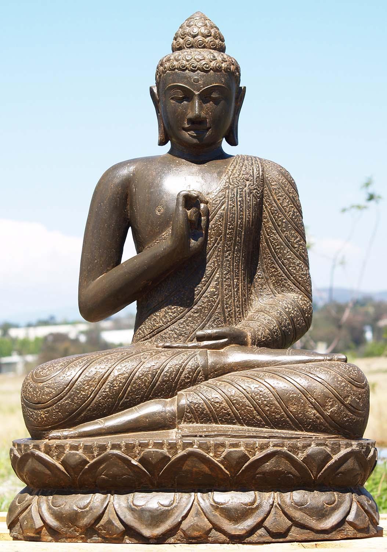 """Stone Teaching Garden Buddha Statue 36"""" (#85ls200): Hindu ..."""