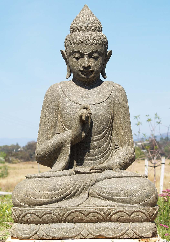 "Buddha Statues For The Garden: SOLD Stone Vitarka Mudra Buddha Garden Statue 48"" (#83ls74"