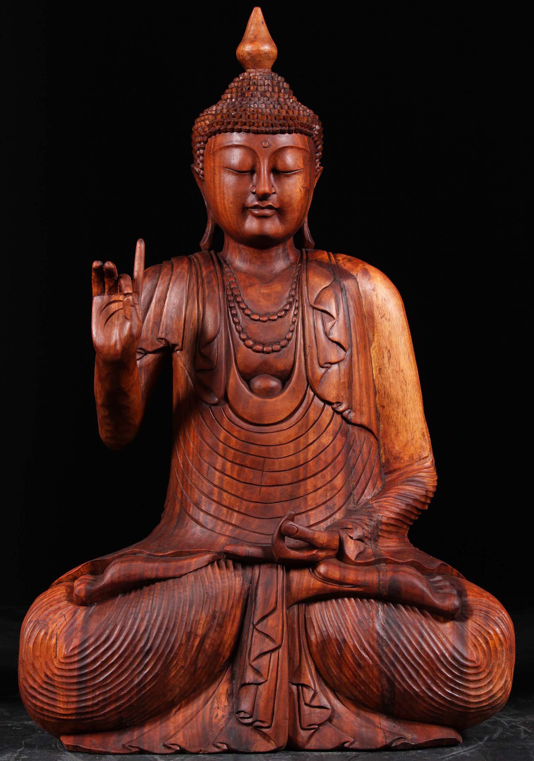 Sold Wooden Teaching Buddha In Full Lotus Position 40 97bw21