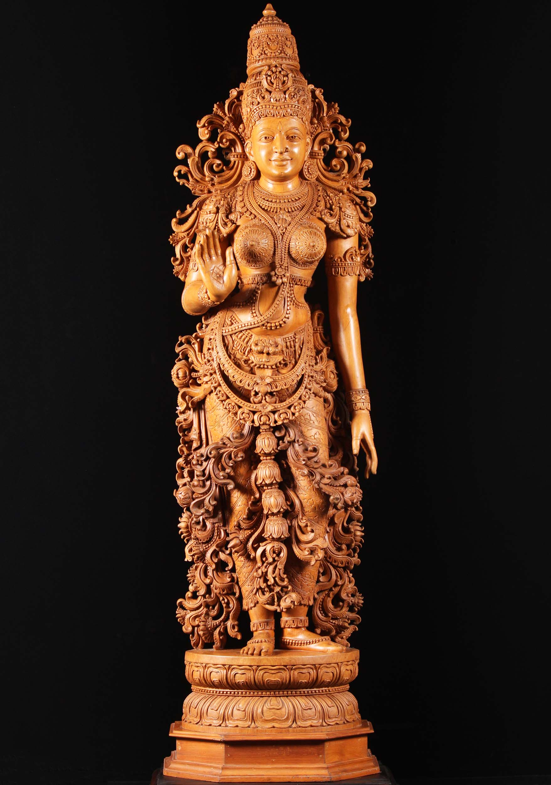 SOLD Teak Wood Standing Parvati Sculpture 69quot 50w12