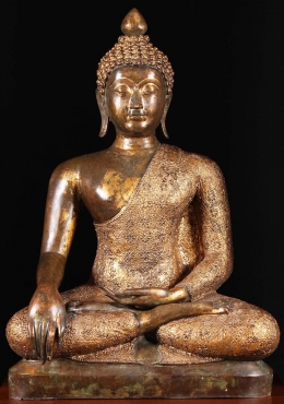 Thai Buddha Statue with Stunning Gold Patina 43