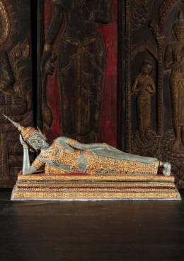 Thai Brass Royal Reclining Buddha Statue 25