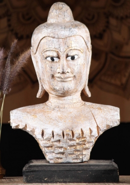Wooden Thai Buddha Bust on Stand 19