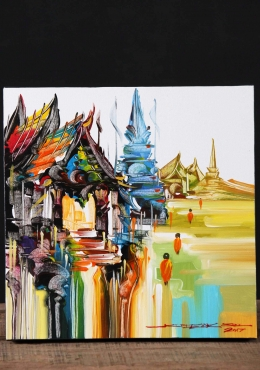 Thai Buddhist Templescape Oil Painting 12