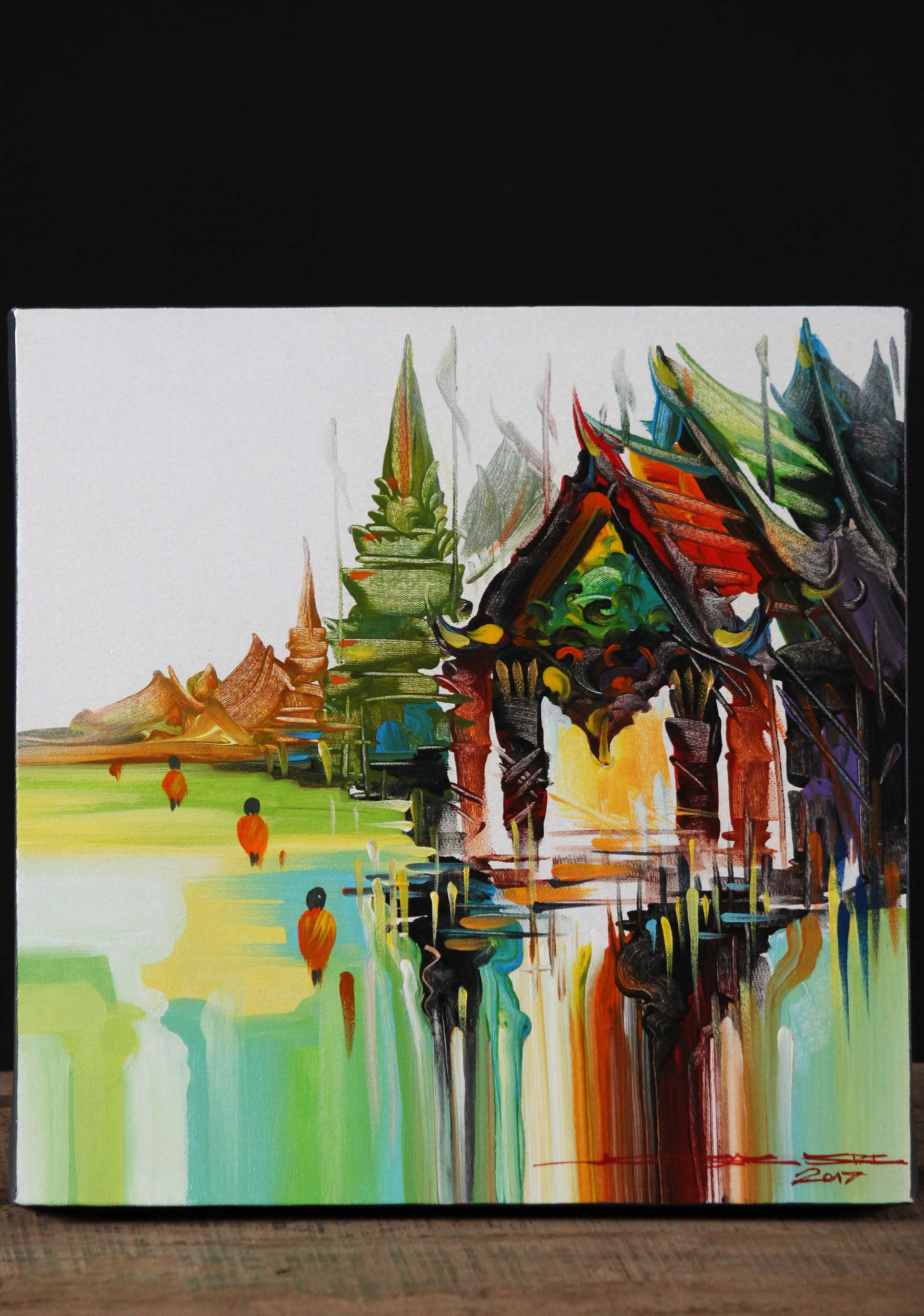 Cambodian Buddha Oil Painting on Canvas 47 (#1p1): Hindu