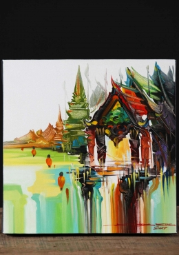Thai Oil Painting of Temples & Monks on Canvas 12