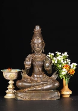 Brass Tibetan Lama in Double Abhaya Mudra 12