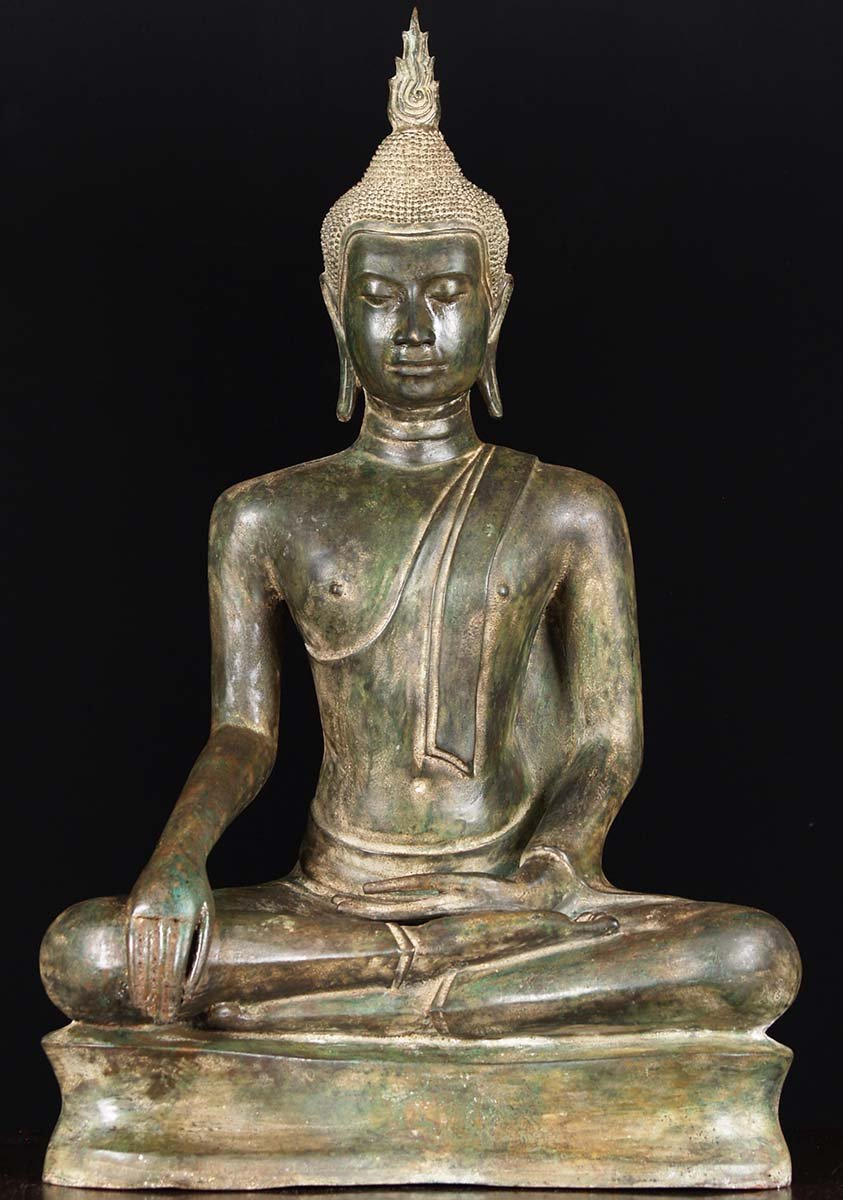 Brass Antique Patina Uttong Style Buddha Statue 31 ...
