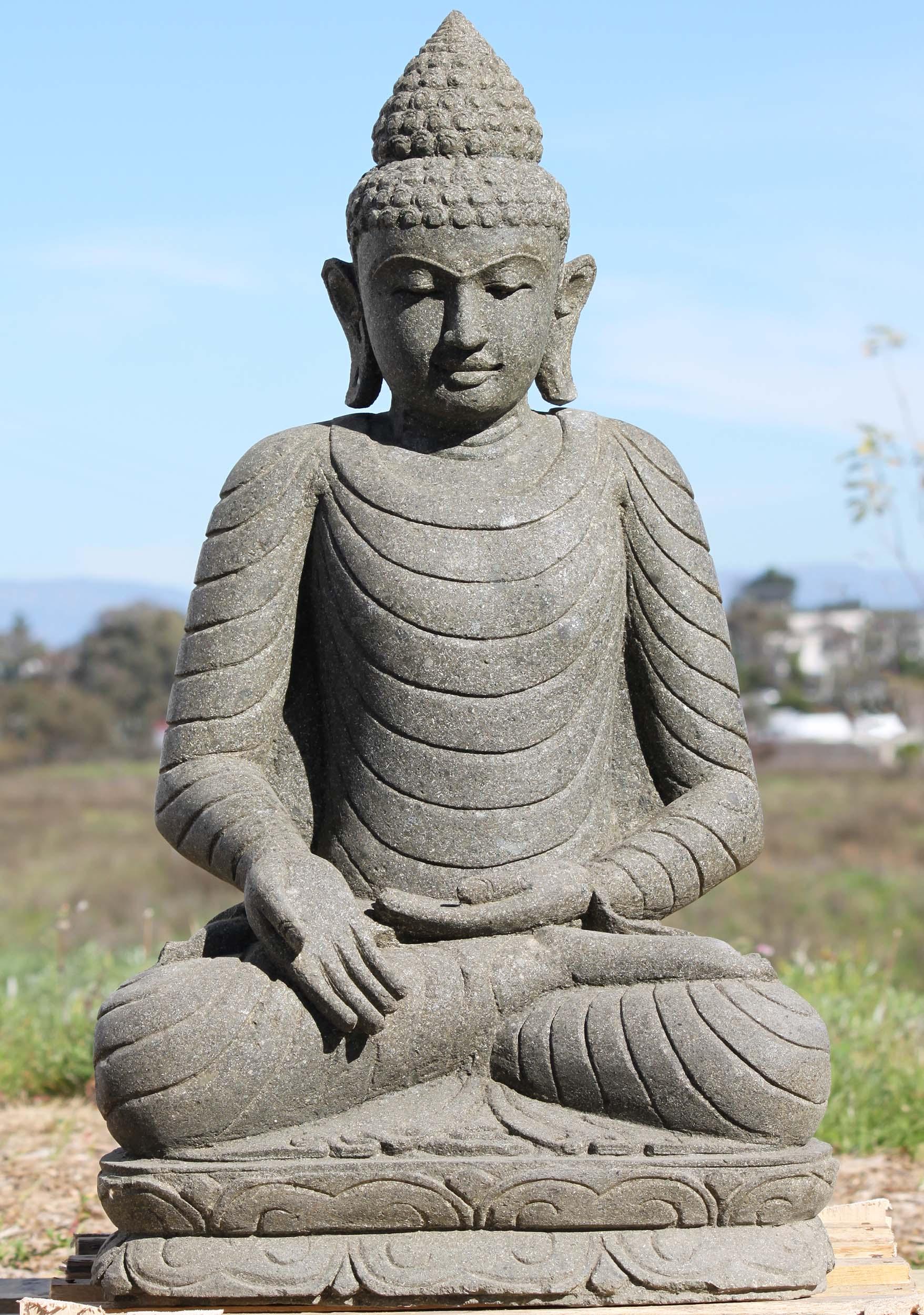Sold stone varada mudra garden buddha statue 32 97ls301 for Outdoor buddha