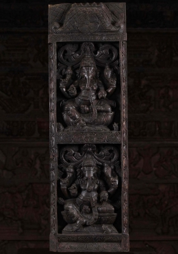 Dark Wood Vertical Ganapathi Panel 36