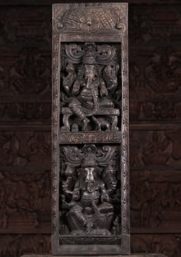Vertical Wood Panel with 2 Ganeshas 36