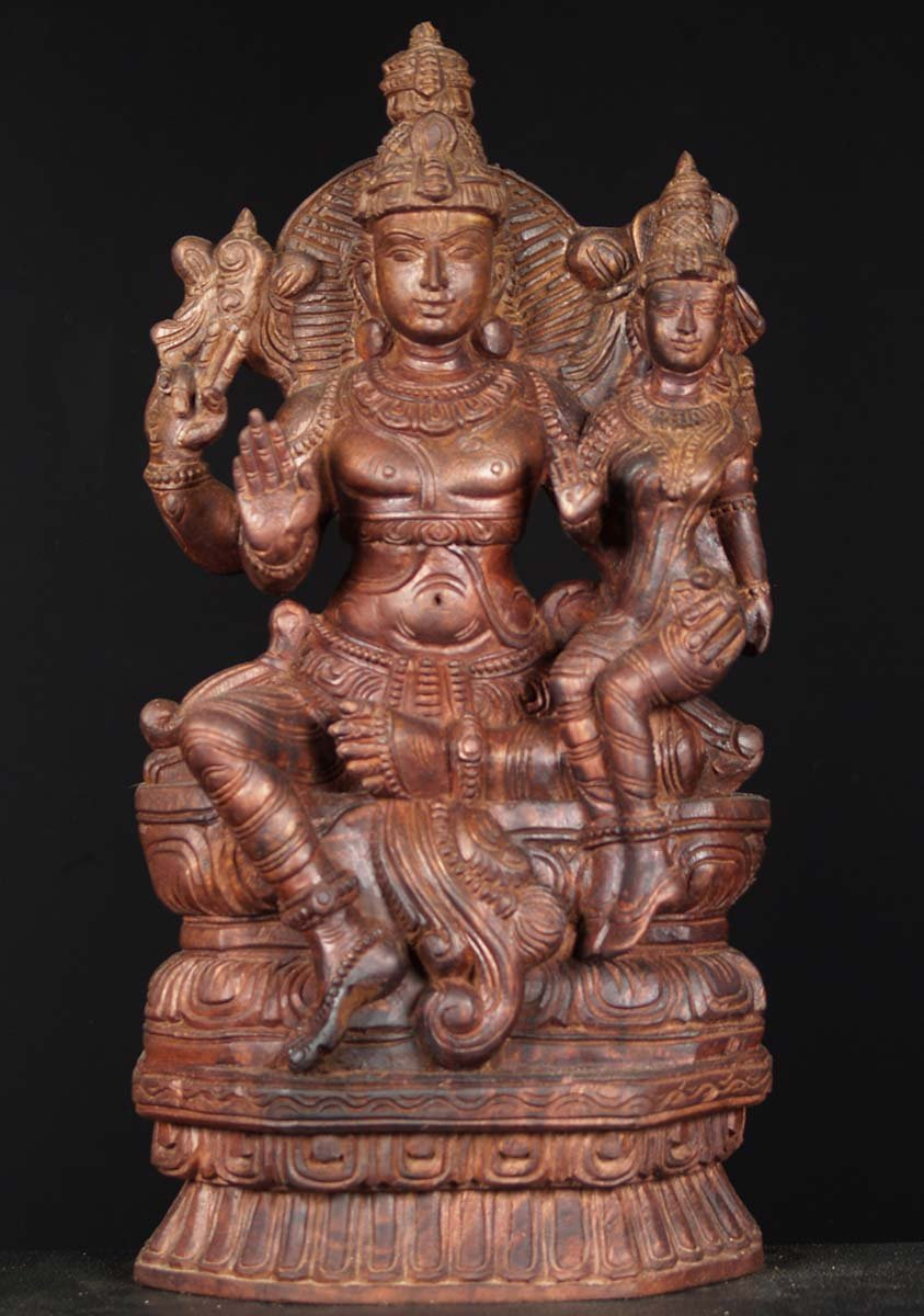 Sold Wood Statue Of Vishnu Seated With Lakshmi 24