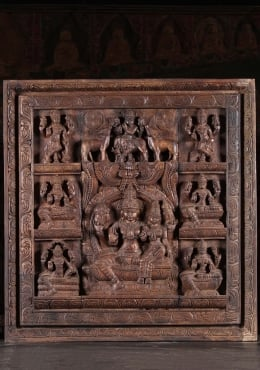 Wood Vishnu & Lakshmi Hindu Wall Panel 31