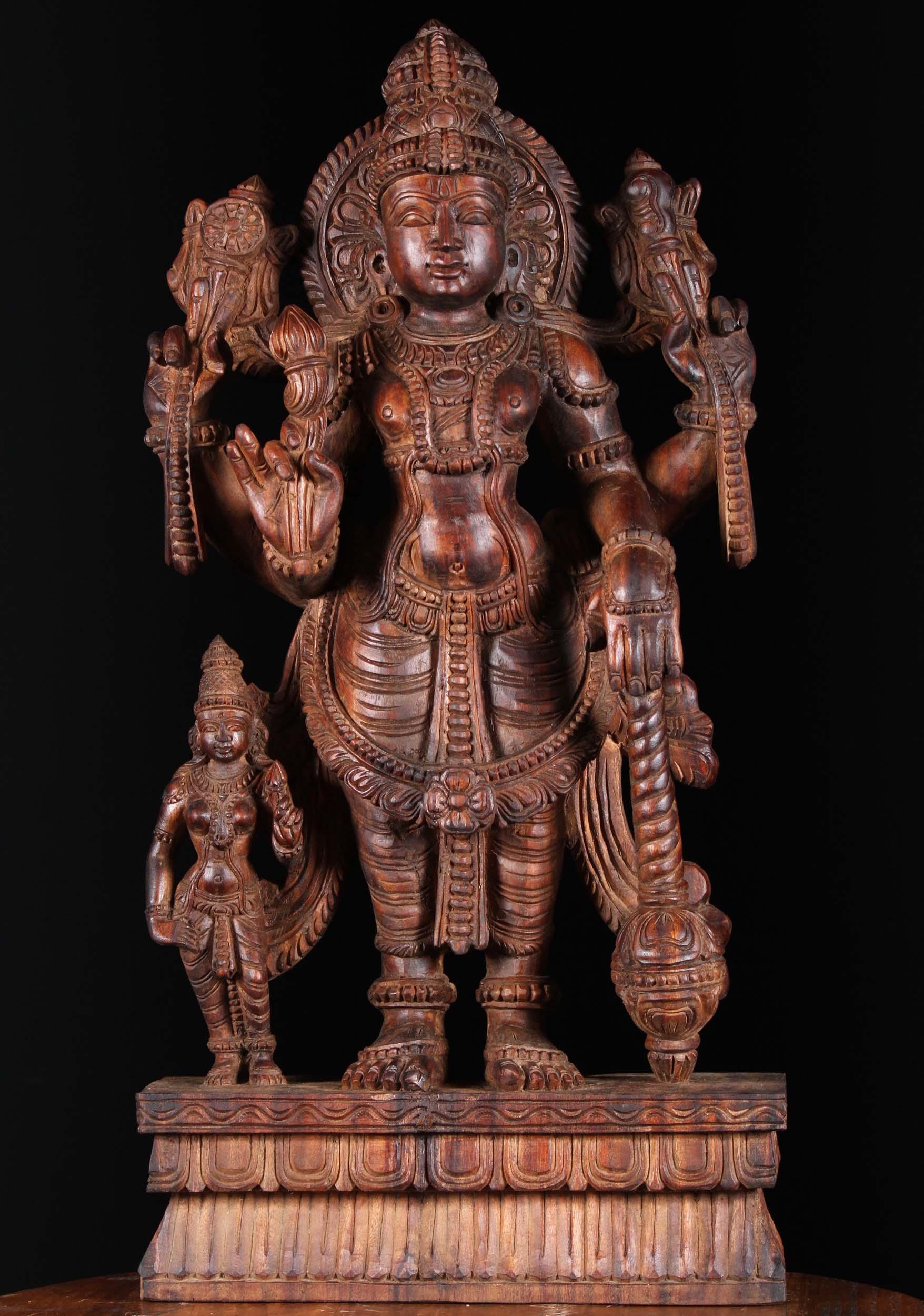 Wooden Standing Vishnu With Lakshmi Statue 30