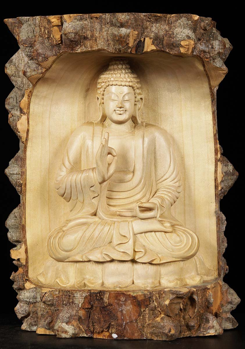 SOLD Natural Wood Teaching Buddha Carving 11\