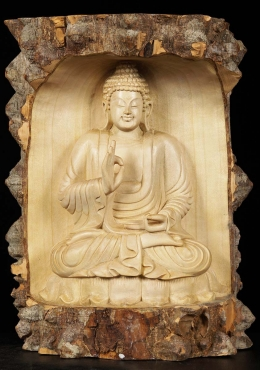 Natural Wood Teaching Buddha Carving 11