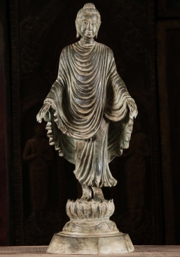 Walking Buddha On Lotus With Flowing Robes 29