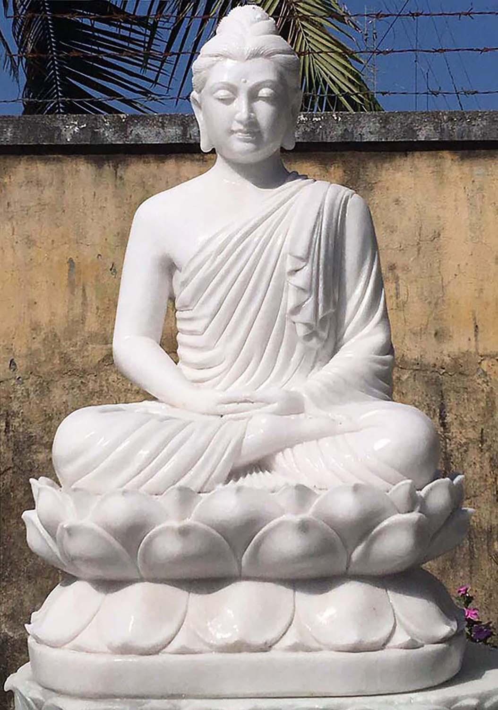 Preorder White Marble Gandhara Buddha Statue On Lotus Base 48 90wm6 Hindu Gods Buddha Statues