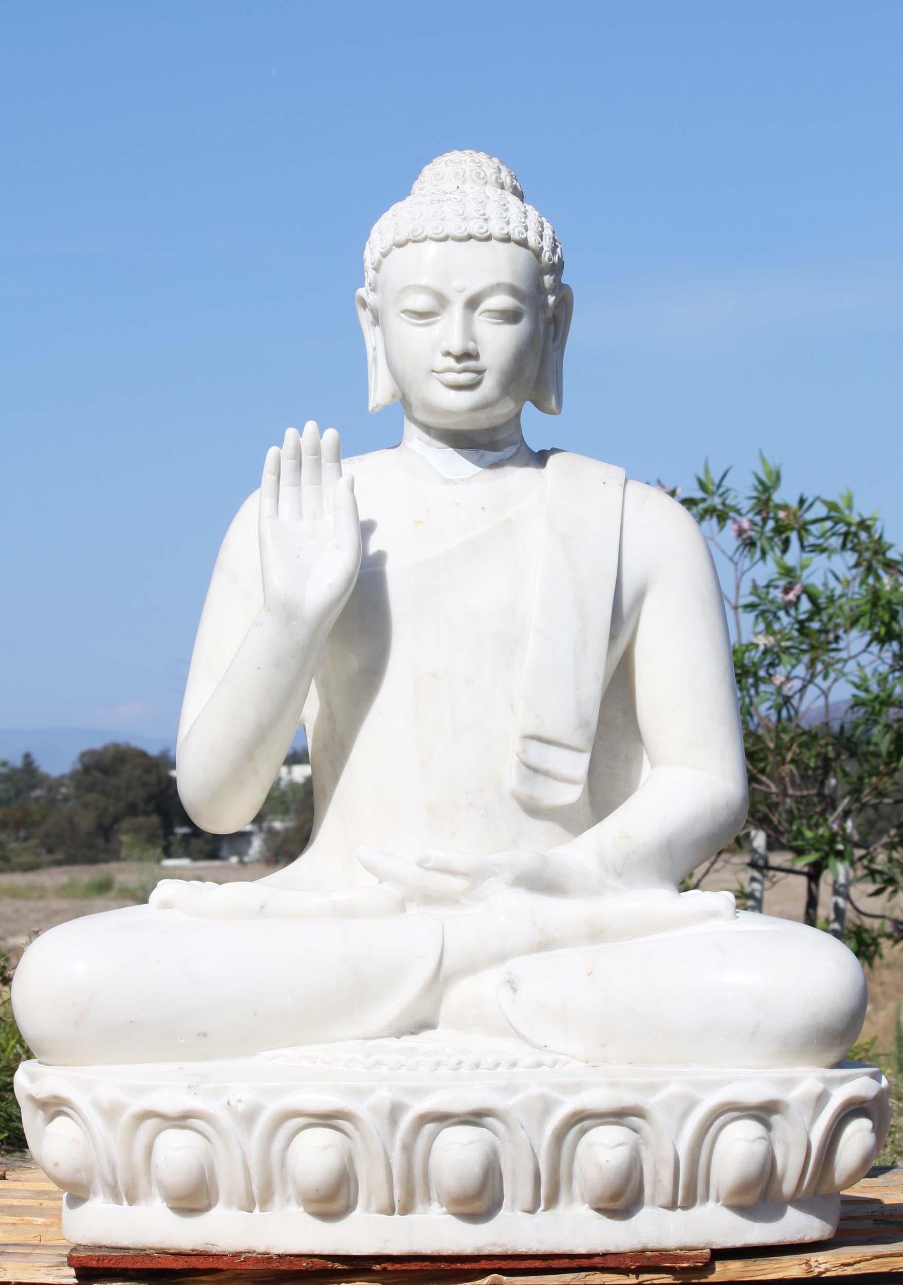 Sold White Marble Abhaya Mudra Buddha Statue 40 Quot 100wm50