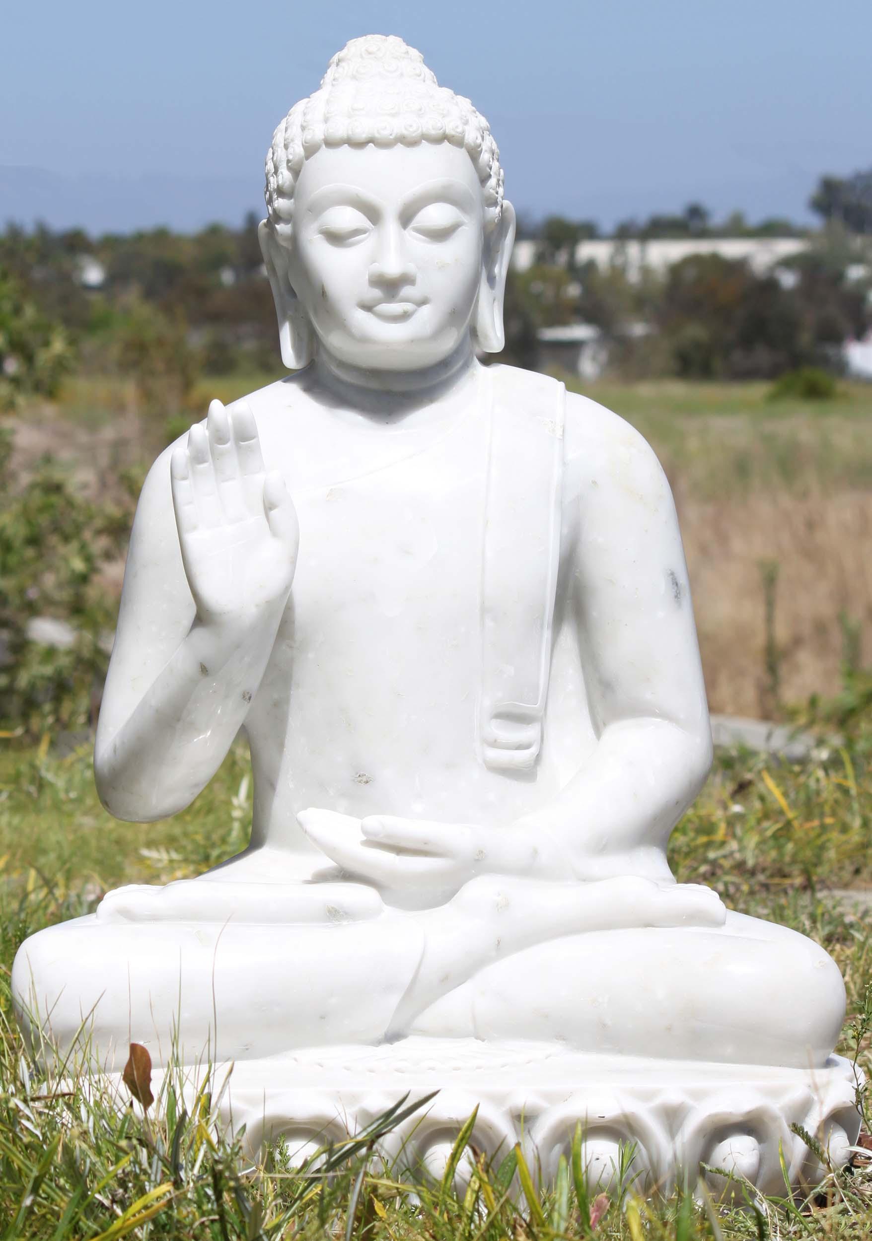 Sold White Marble Abhaya Buddha Sculpture 30 Quot 71wm205