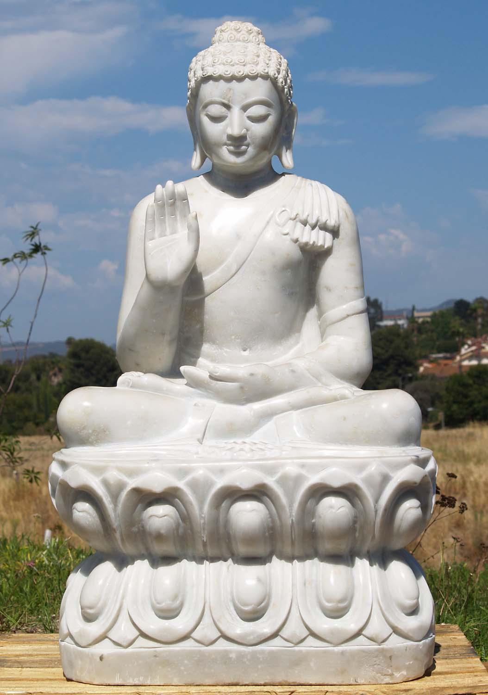 Sold White Marble Abhaya Mudra Buddha Statue 36 Quot 71wm9e