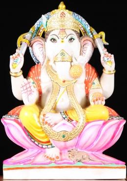 White Marble Abhaya Ganesha Statue 18   sc 1 st  Lotus Sculpture & Stone Reclining Ganesha Statue Holding Lotus 36