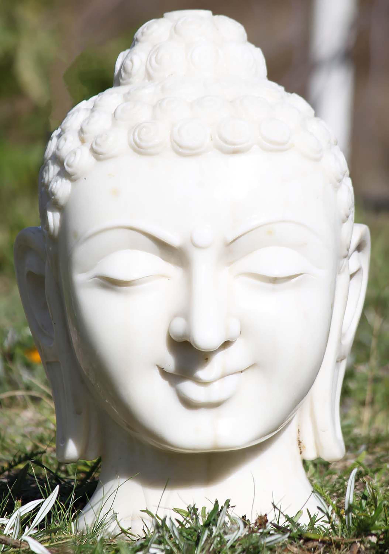 Sold White Marble Buddha Head Bust 17 Quot 80wm3a Hindu