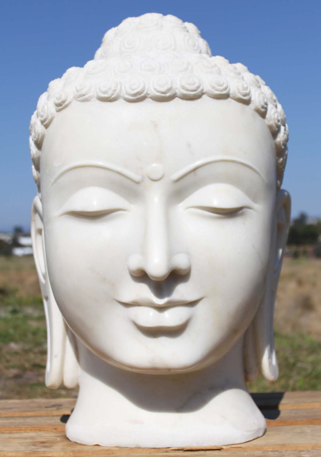 Sold White Marble Buddha Head 26 Quot 80wm3 Hindu Gods