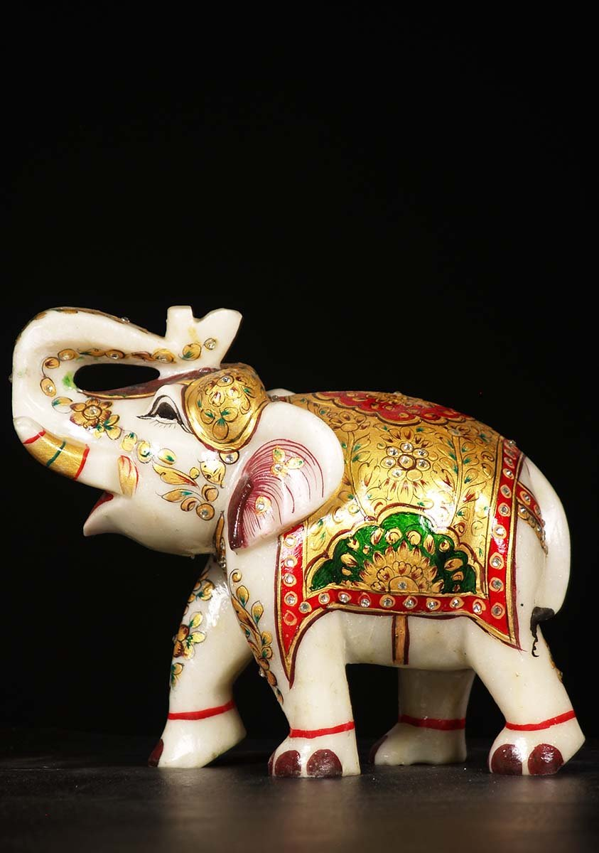 Marble Elephant With Lucky Raised Trunk 8 Quot 71wm88