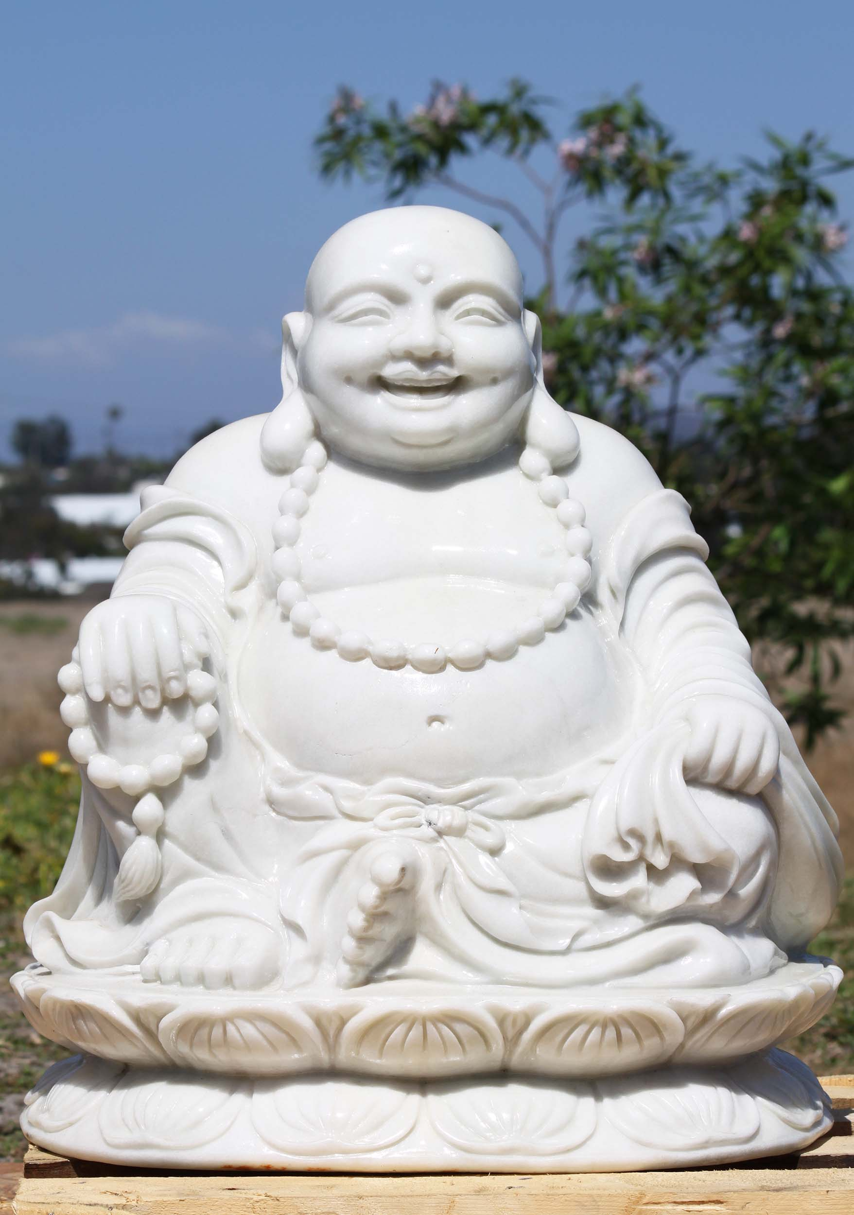 White Marble Happy Buddha Of Wealth Statue 21 Quot 109wm11