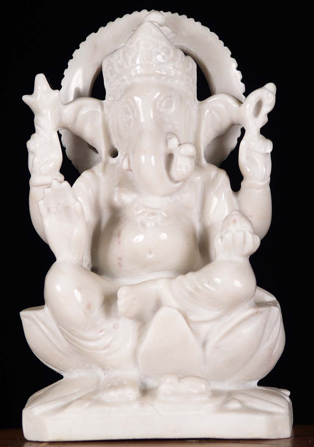 White Marble Statue : White marble seated ganesh statue quot wm z hindu