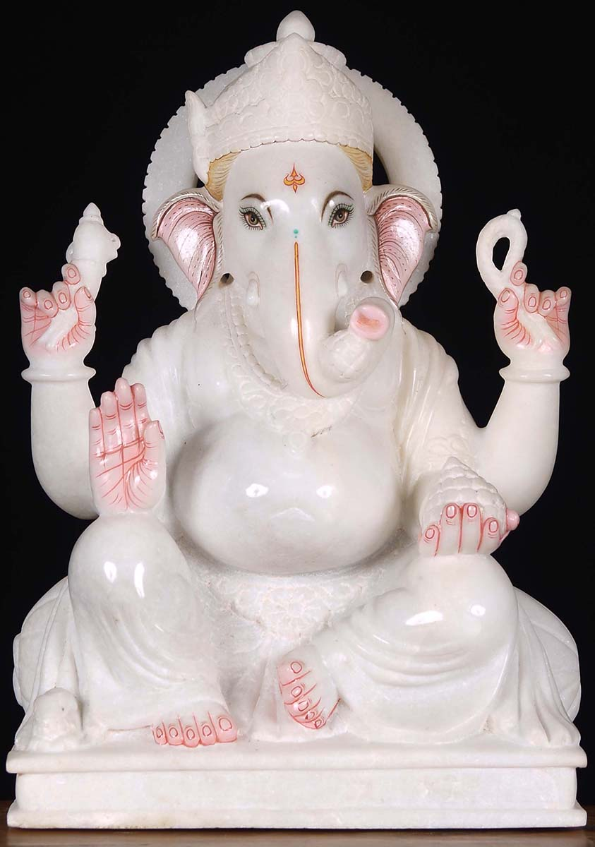 Sold White Marble Ganesha Sculpture 17 Quot 80wm24a Hindu