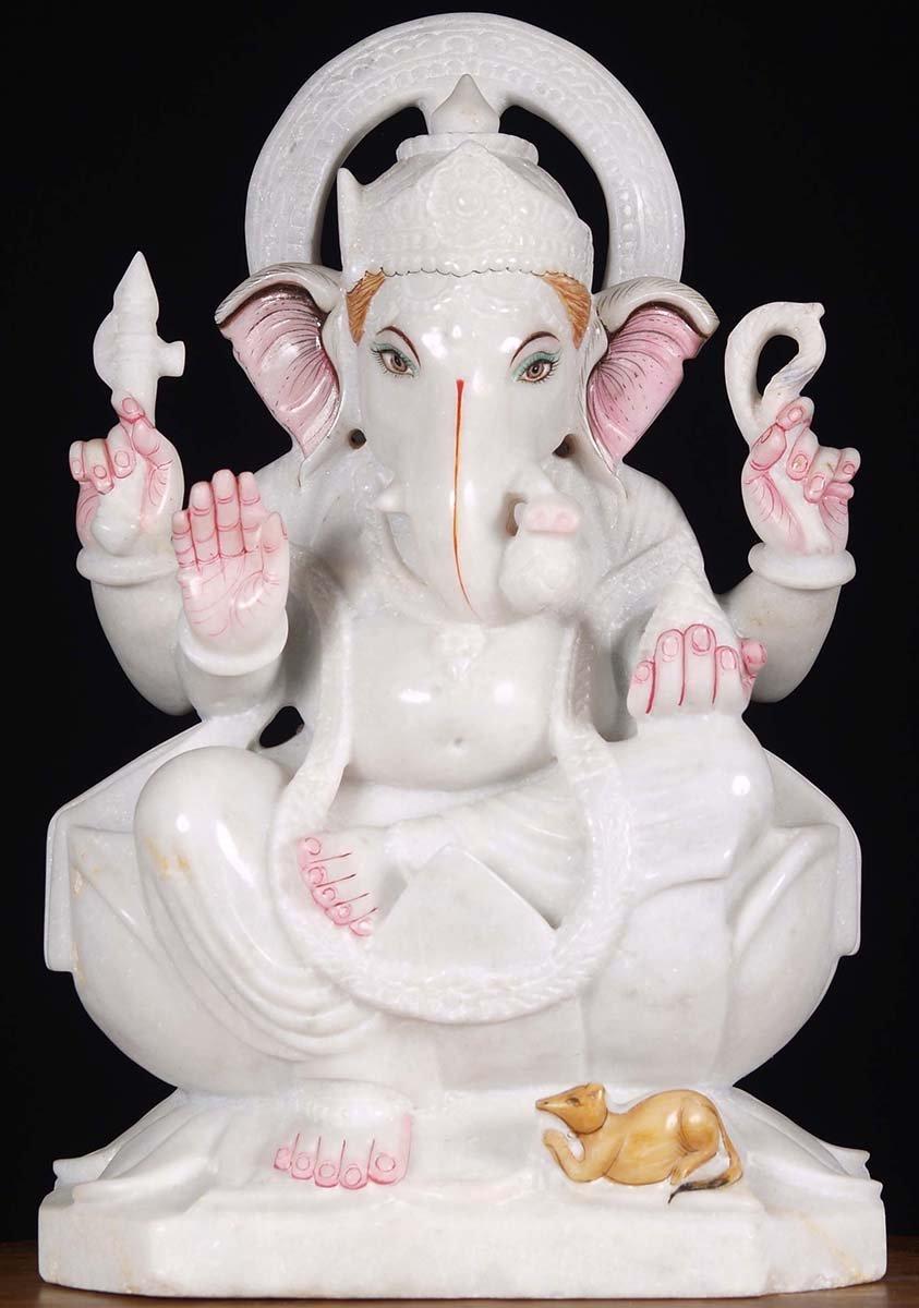 Sold Marble Ganesh Sculpture 18 Quot 80wm24c Hindu Gods