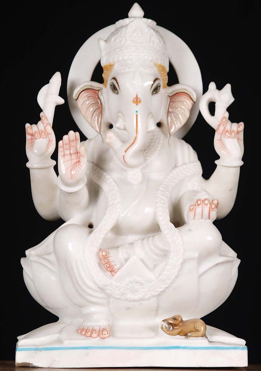 Sold White Marble Ganesh Statue 17 Quot 80wm24d Hindu Gods