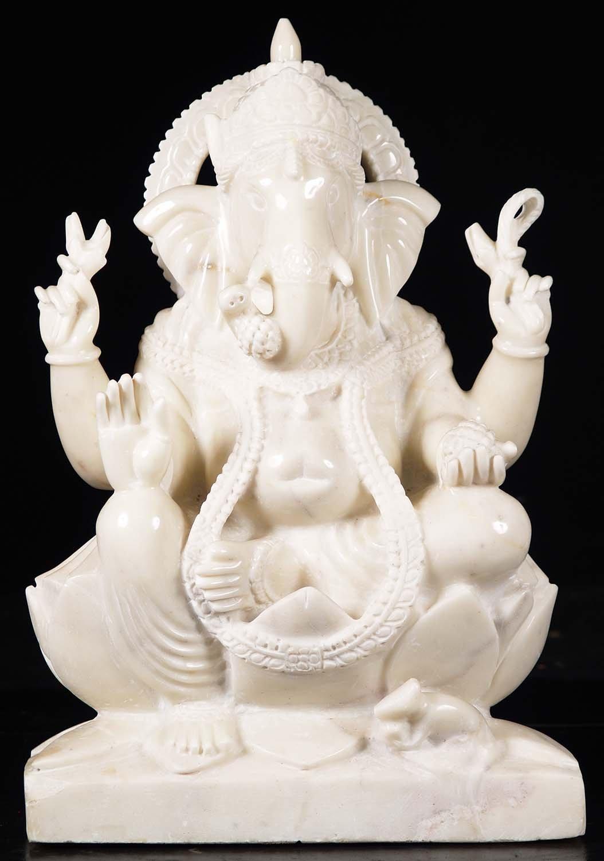 Pure White Marble Ganesha Sculpture 25 Quot 71wm41g Hindu