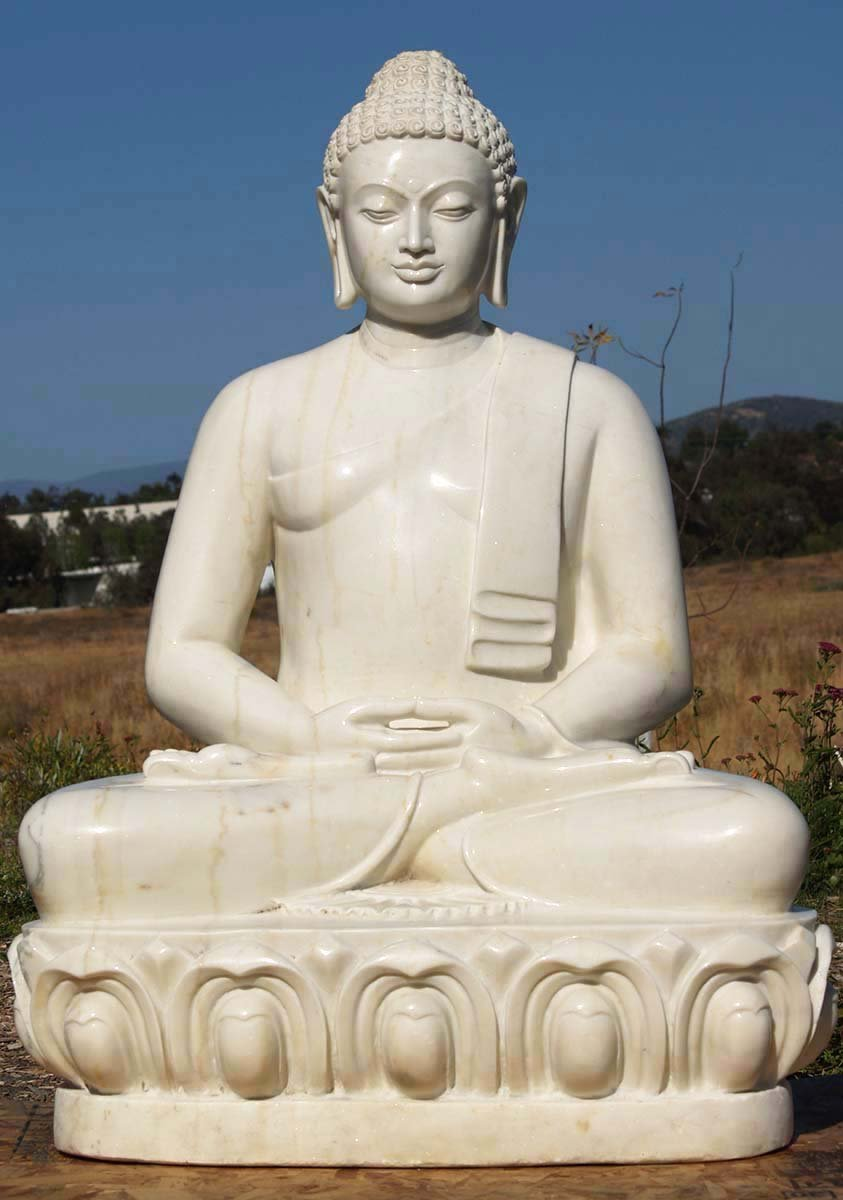Sold White Marble Garden Meditating Buddha 42 Quot 71wm8