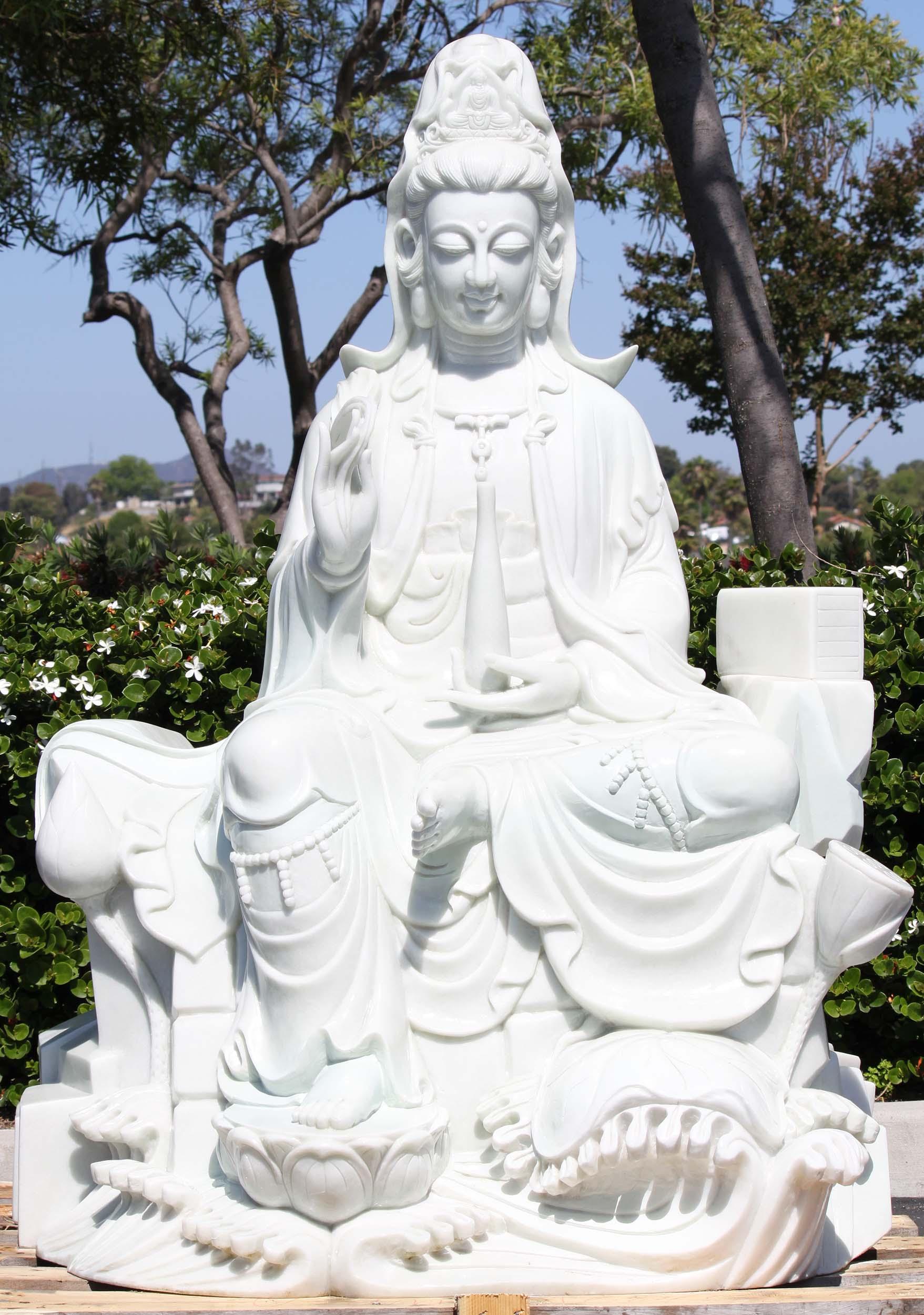 White Marble Masterpiece Kwan Yin Statue 60 Quot 109wm3